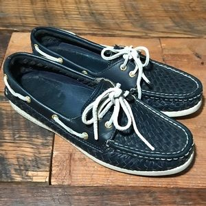 SPERRY Topsider Navy Woven Leather Boat Shoes 9M